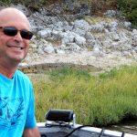 Joe (and crocodile) on a Chobe River boat safari