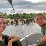 Stephanie and Jared on a Chobe River boat safari - Private boat for Compass Odyssey travellers