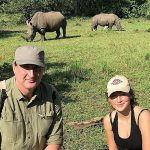 Frederic and Julie on a rhino walking safari on the Zambian side of the Victoria Falls