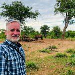 Joe on a rhino walking safari on the Zambian side of the Victoria Falls