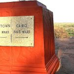 """""""Cape to Cairo"""" sign in the grounds of the Victoria Falls Hotel"""